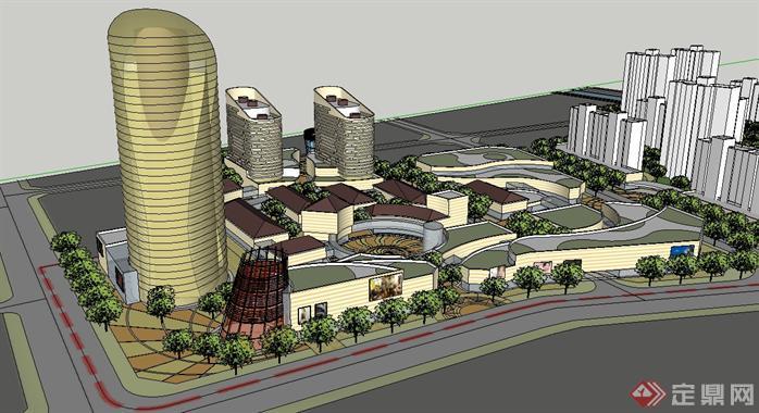 灵璧某商业步行街建筑规划设计SU模型,表现出了整个商业步行街建筑设计的规划,以及商业街绿化规划的初步规划,su做的还算不错,CAD阶段做的较为细致,有兴趣的可以作为参考。