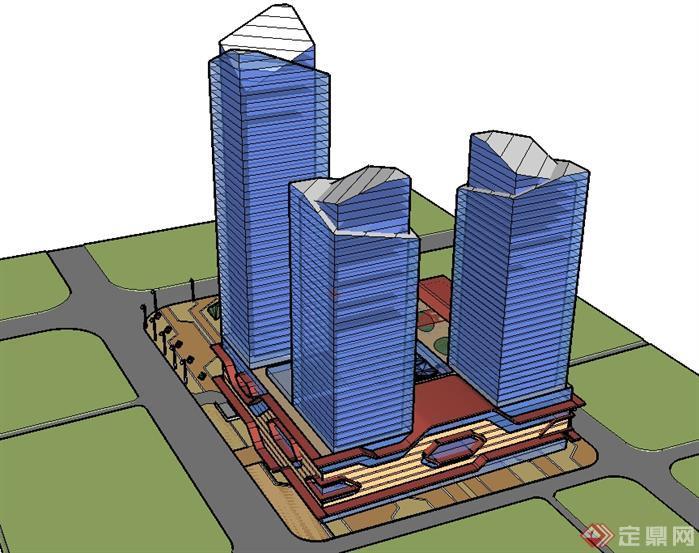 徐州某城市商业广场中心建筑设计方案效果图(3)