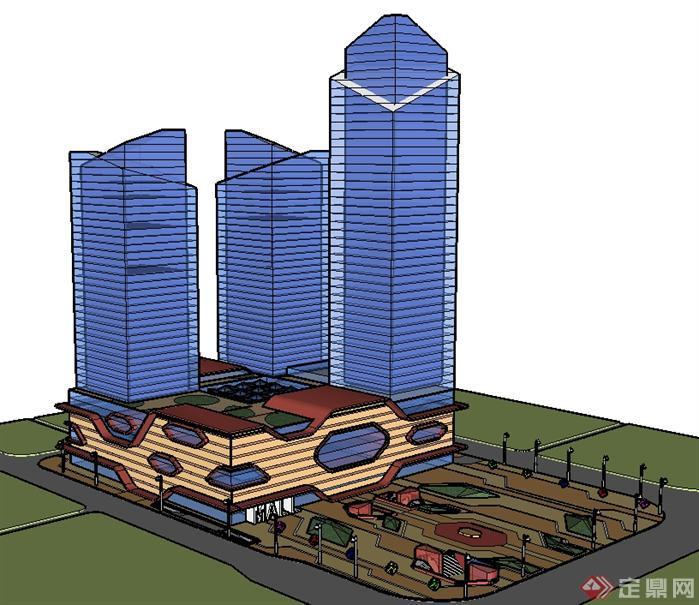 徐州某城市商业广场中心建筑设计方案su模型[原创]