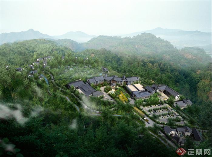 栗阳某新中式温泉酒店建筑设计方案 含效果图