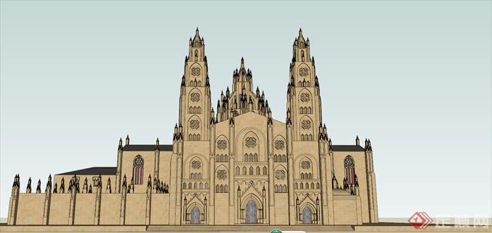某哥特风格教堂建筑设计方案效果图(1)