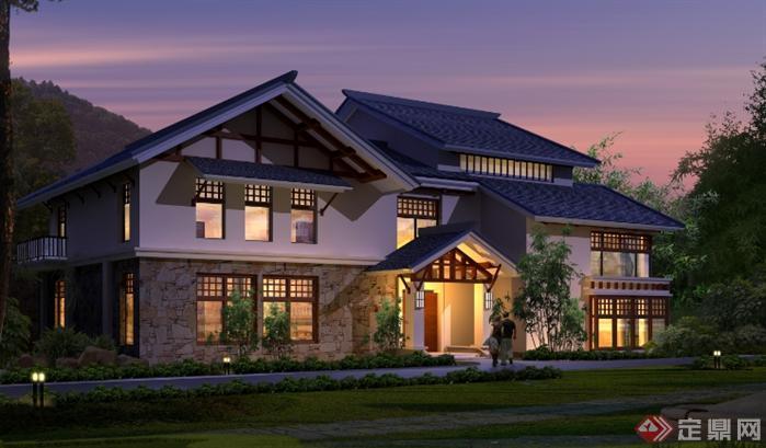 溧阳某温泉度假酒店建筑设计总平面图 带效果图高清图片