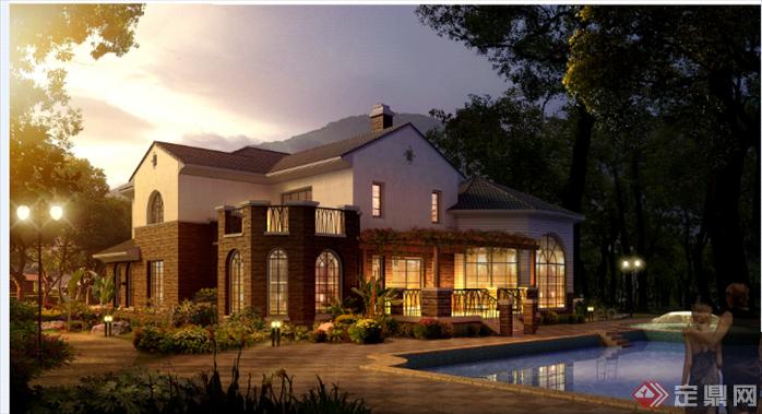 宁波东钱湖某别墅建筑方案设计(含CAD别墅,效夏履平面图片