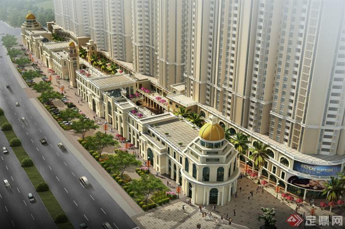 欧式高层住宅楼 商业街 欧式酒店建筑设计方案 含效果图 su模