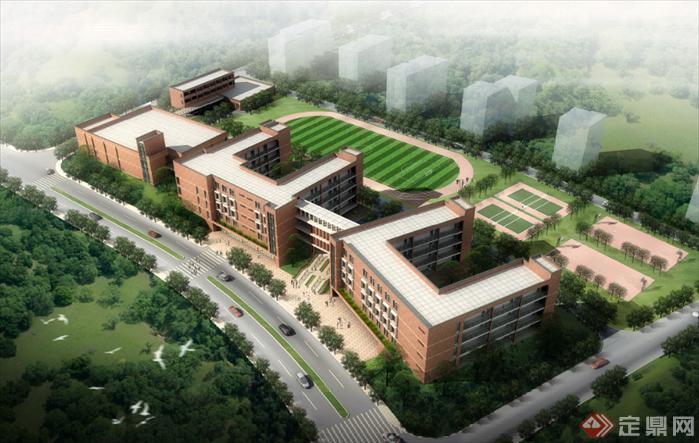 某欧式家园学校建筑景观方案设计 含SU模型,CAD,PSD效果图