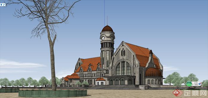 某古典欧式火车站建筑设计方案su模型[原创]