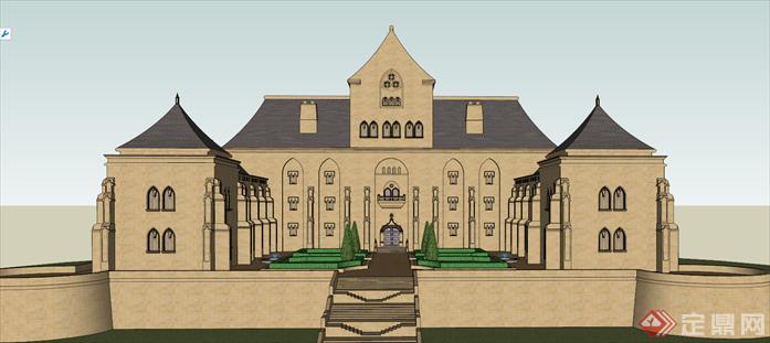 某古典欧式会所建筑方案设计su模型[原创]