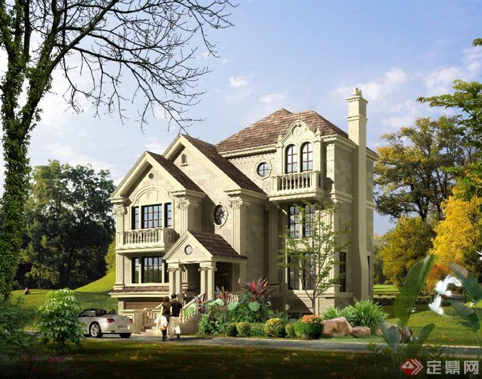 美式别墅建筑设计图纸展示图片