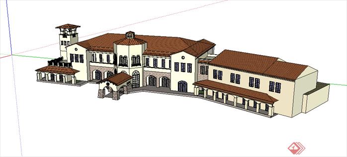 欧式房屋黑白矢量图