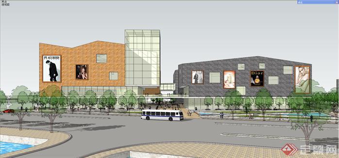 某现代风格沿河商业街建筑设计方案效果图(5)