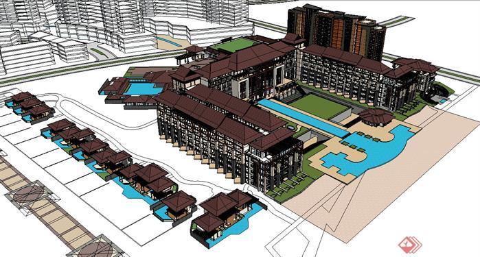 某新中式海景度假酒店建筑设计方案SU模型高清图片