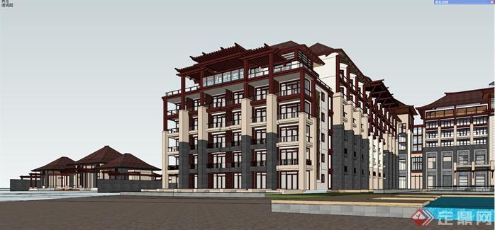某新中式海景度假酒店建筑设计方案效果图(5)图片