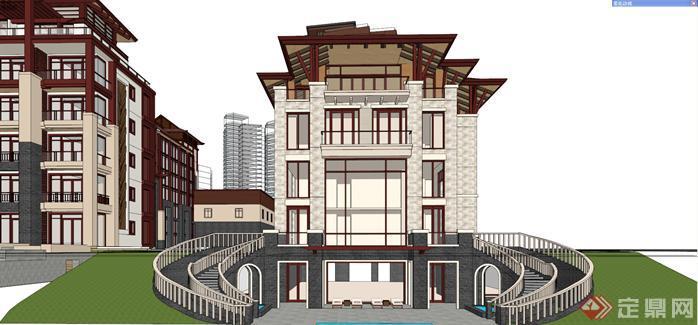 某新中式海景度假酒店建筑设计方案效果图(6)图片