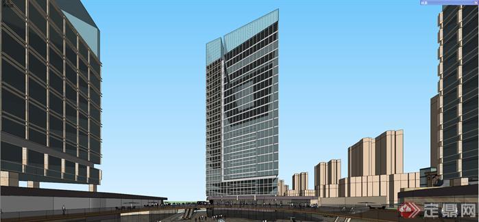 某现代商业办公组合体建筑方案设计su模型
