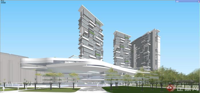 某现代结构主义风格写字楼项目建筑方案设计su模型