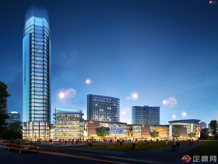 某现代商业综合体建筑设计效果图(1)