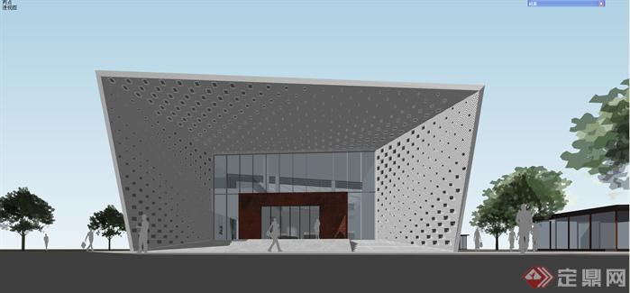 某现代风格造型独特会所建筑方案设计su模型