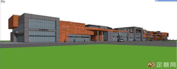 某现代风格两层商业街建筑设计方案SU模型