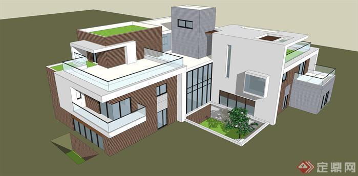 某现代风格独栋小别墅建筑设计su模型[原创]