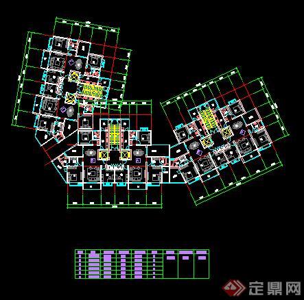 某高层住宅楼建筑设计方案住宅楼平面图(4)