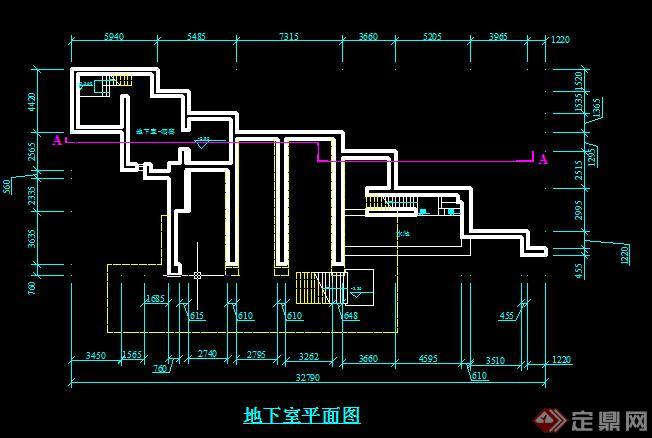某流水别墅建筑设计方案地下室平面图(2)