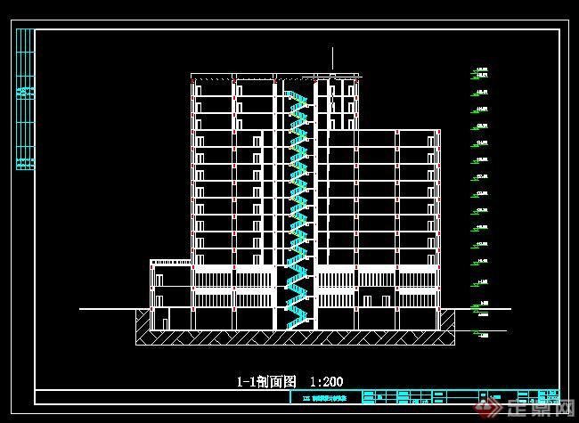 某高层办公楼建筑设计方案立面图(2)