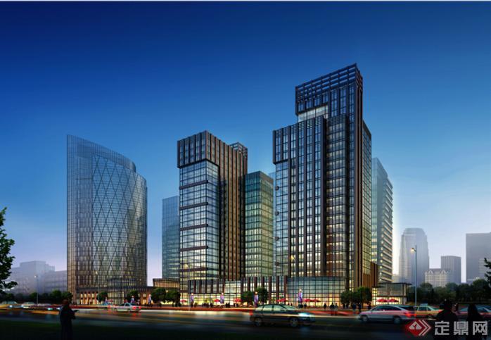 鄂尔多斯某现代沿街商业建筑设计方案 含效果图 su模型