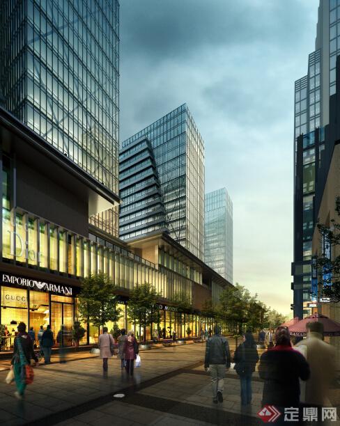 鄂尔多斯某现代沿街商业建筑设计方案 含效果图 su模型高清图片
