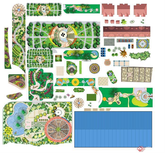园林景观效果图小品PSD分层素材