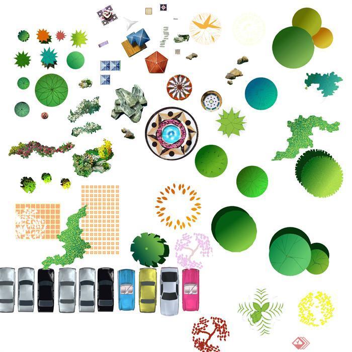 园林景观平面植物psd素材,内有多种园林植物和园林小品ps素