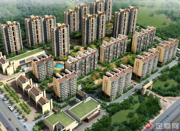 村某住宅建筑 沿街商业区建筑设计 含方案图 户型图 效果图 SU模型