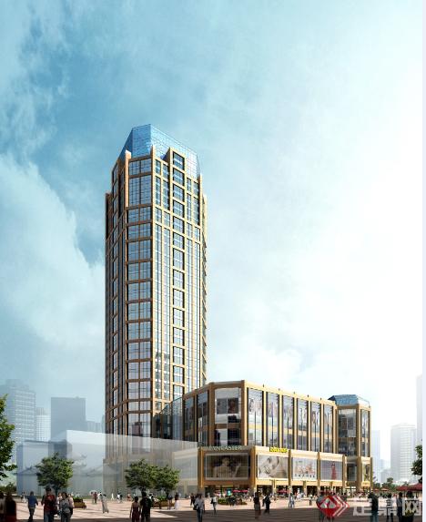 某欧式风格办公大楼写字楼建筑方案设计(含效果图)