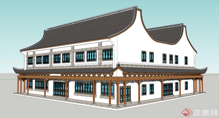 某中式风商场建筑su设计模型[原创]