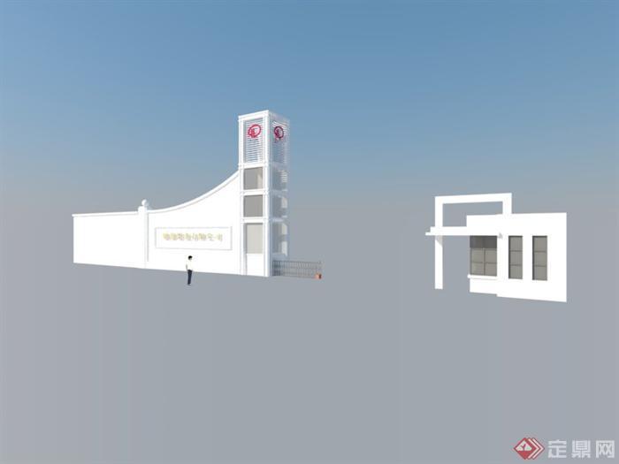 某工厂大门建筑方案设计SU模型