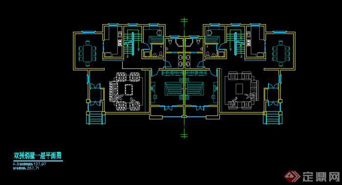 内蒙某住宅别墅建筑设计方案一层平面图(4)