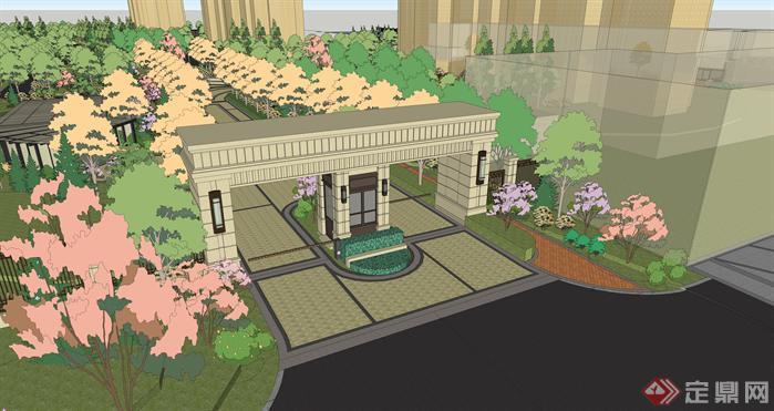 某小区大门,小区景观设计方案效果图