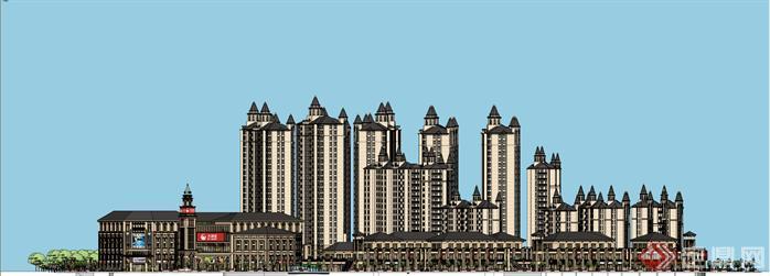 某简欧风格高层住宅小区+沿街商业建筑设计su模型