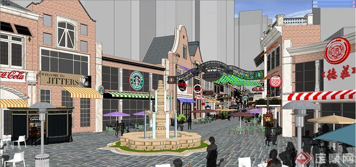 某欧式商业步行街建筑设计方案效果图(4)