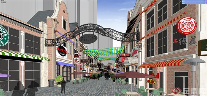 某欧式商业步行街建筑设计方案效果图(5)
