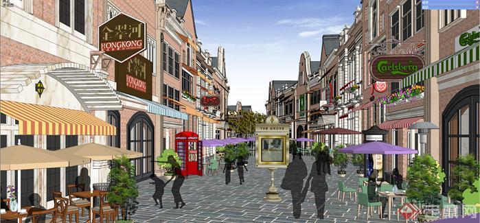 某欧式商业步行街建筑设计方案效果图(6)