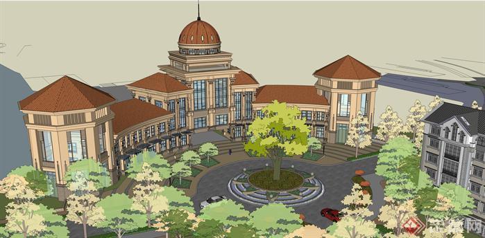 一个欧式住宅区入口和会所方案su模型(6)图片