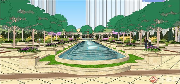 某欧式小区景观设计方案su模型[原创]