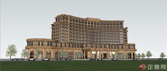 某欧式星级酒店建筑设计方案su模型[原创]