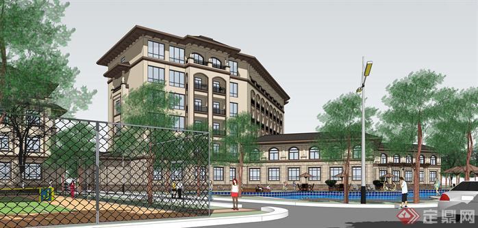 某简欧式多层酒店建筑设计su模型2