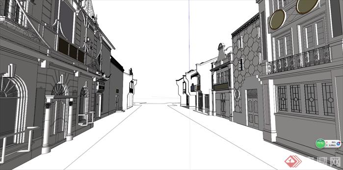 某新中式商業街建筑設計方案效果圖(1)