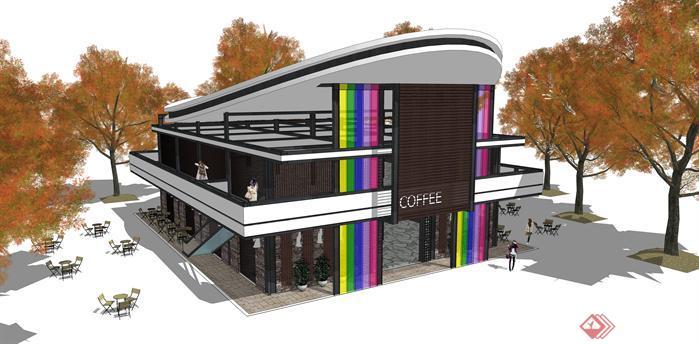 某现代风格咖啡厅建筑设计方案su模型[原创]