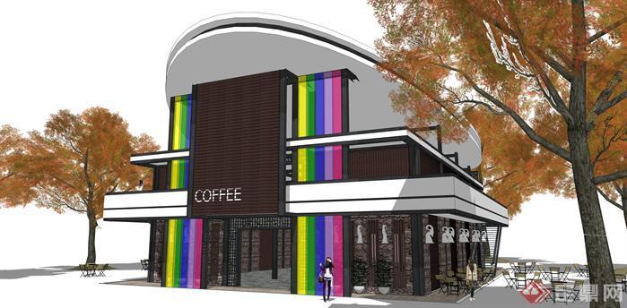 某现代风格咖啡厅建筑设计方案SU模型,咖啡厅设计风格独特,模型制作精细,将咖啡厅整体外围清晰画出,十分适合做咖啡厅建筑设计的模型参考。