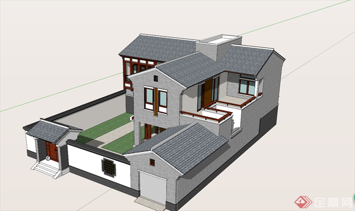 某中式自建房建筑设计方案su模型[原创]