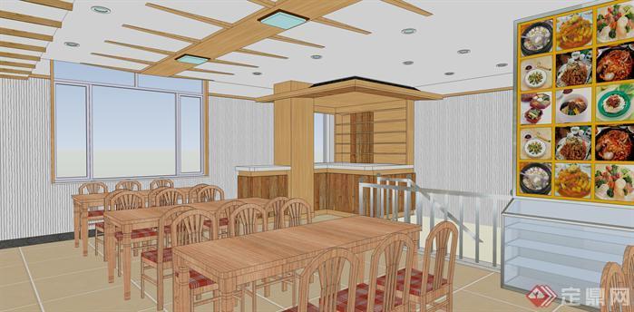 某朝鲜族风格餐厅室内装修方案SU模型