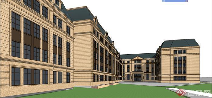 某欧式风格学校教学楼设计su模型[原创]